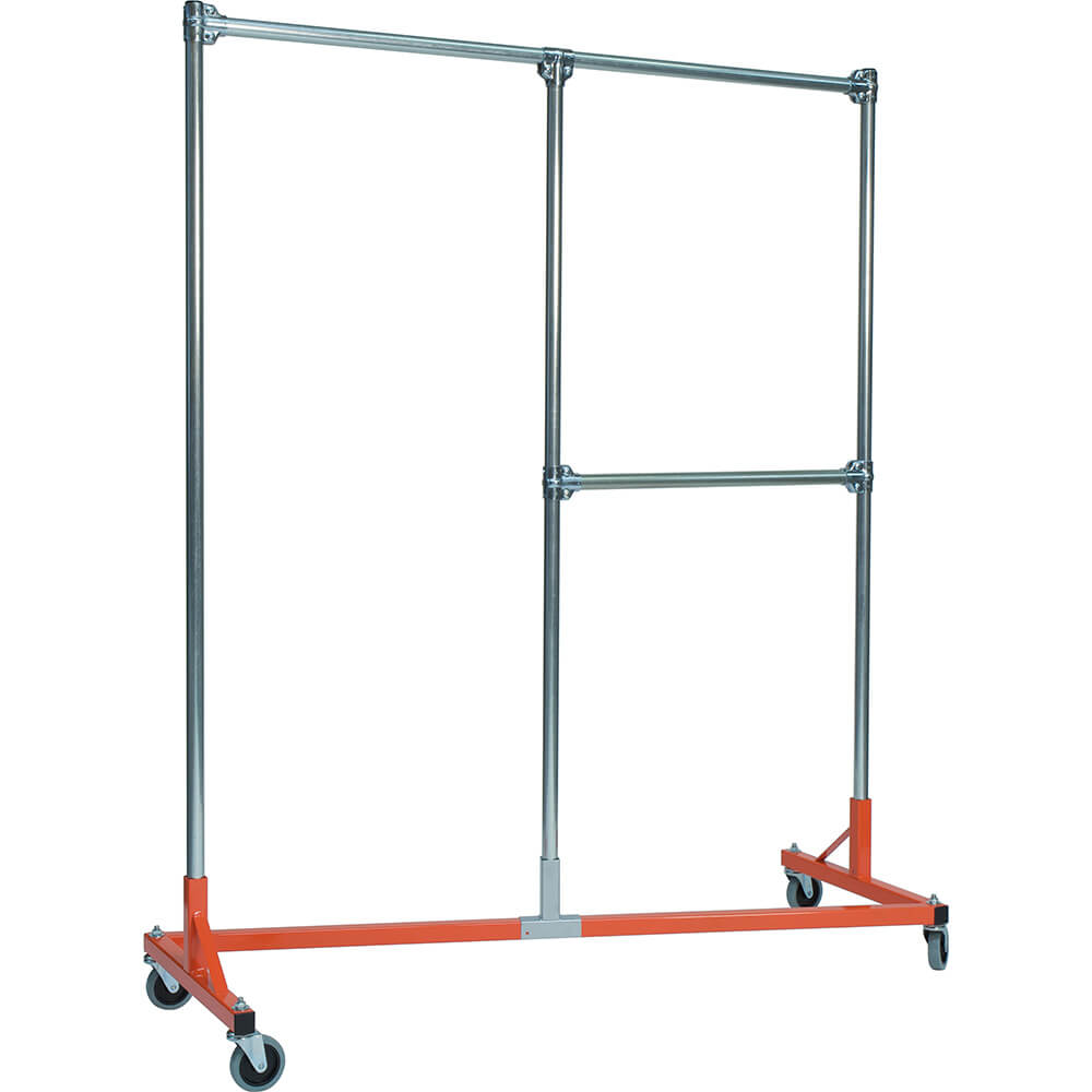 "Orange Z-Rack, Heavy Duty Clothes Rack, Split Rail, 72"" Uprights 1/2 Middle Rail"