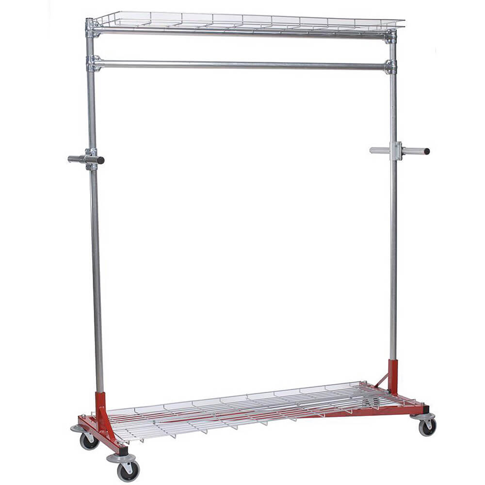 "Orange, Multi-Purpose Garment Rack 60"" Long, Top and Bottom Shelves, Steering Handles"
