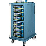 "Slate Blue, Tall Meal Delivery Cart, 14""x18"" Trays, 1 Door"