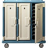 "Slate Blue, Tall Meal Delivery Cart, 14""x18"" Trays, 3 Doors"